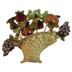 Harvest Basket Pin with Fruit and Vegetables Enamel and Gold Tone Grapes Pumpkin Tomato Pear