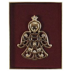 1977 Sarah Coventry Gold Tone Angel Pendant Gabrielle in Original Box Gold Tone with Rhinestones Vintage Christmas