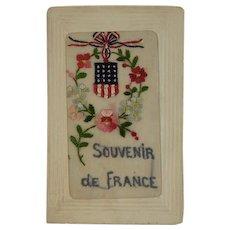 WWI Embroidered Silk Postcard US Flag Allies Soldiers Mail World War I Era 1919 Souvenir de France