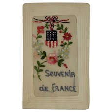 WWI Embroidered Silk Postcard US Flag Allies Soldiers Mail World War I Era 1919 Souvenir de France