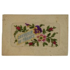 WWI Embroidered Silk Postcard World War I Era 1919 Souvenir de France
