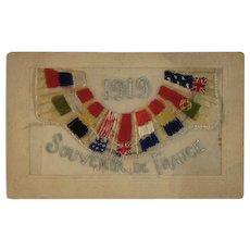 WWI Embroidered Silk Postcard Allies Flags World War I Era 1919 Souvenir de France - Red Tag Sale Item