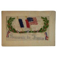 WWI Embroidered Silk Postcard US & French Flags World War I Era 1919 Souvenir de France Envelope Style