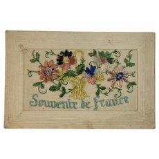 WWI Embroidered Silk Postcard World War I Era 1919 Souvenir de France Flower Basket