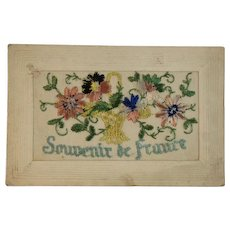 WWI Embroidered Silk Postcard World War I Era 1919 Souvenir de France Flower Basket