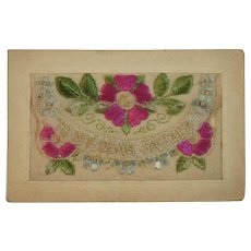 WWI Embroidered Silk Postcard To My Dear Father World War I Era 1919 Envelope Style with Flowers