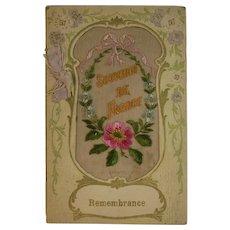 WWI Embroidered Silk Remembrance Card Souvenir de France World War I Era 1919