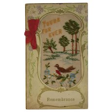 WWI Embroidered Silk Remembrance Card Yours For Ever World War I Era 1919