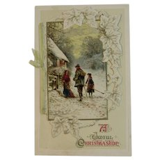 German Die Cut Christmas Booklet Postcard Edwardian Era Chromolithograph