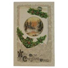 German Die Cut Christmas Booklet Card Edwardian Era Winter Scene 1908