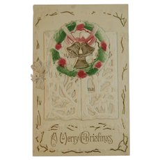 German Die Cut Christmas Booklet Card Edwardian Era Winter Scene with Bells Wreath and Snow Covered Branches
