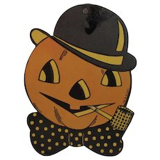 Vintage Halloween H E Luhrs Pumpkin Jack O Lantern with Corn Cob Pipe Hat and Bow Tie Cardboard Decoration