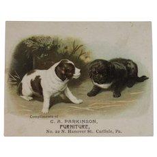 Victorian Trade Card Puppy Dogs Carlisle PA Furniture Store C A Parkinson