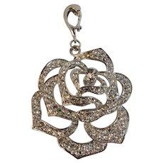 Nolan Miller Rhinestone Rose Silver Tone Pendant