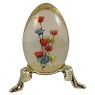Vintage Lucite Egg Paperweight on Stand with Flowers Inside Japan