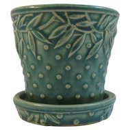 1930s Nelson McCoy Flower Pot Leaf and Hobnail Pattern NM Mark Green Color Attached Underplate
