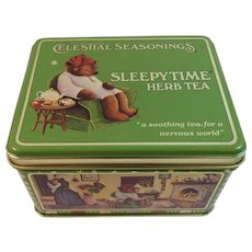 Vintage Teddy Bear Tin Sleepytime Herb Tea Celestial Seasonings 1982