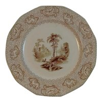 1830s 1840s Maryland Pattern Brown Transferware Dinner Plate Samuel Alcock & Sons Florentine China Series Romantic Scene