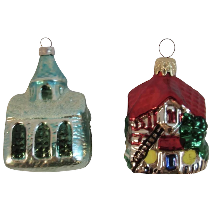 2 West German Christmas Ornaments Germany Church And House Cottage Mica Hand Made Glass