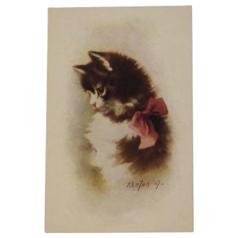 1907 Artist Signed Kenyon Cat Postcard Mischief Kitty with Pink Bow Unused 5551