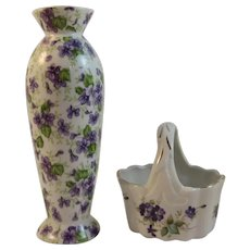 Lefton China Violets Bud Vase and Basket Vintage
