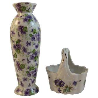 Lefton China Violets Bud Vase and Basket Vintage
