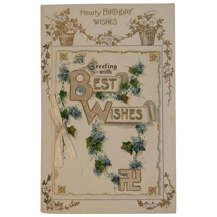 German Booklet Style Birthday Postcard from the Edwardian Era Unused