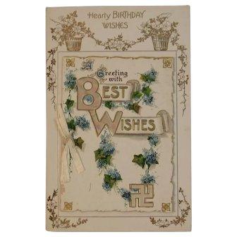 German Booklet Style Birthday Postcard from the Edwardian Era Unused