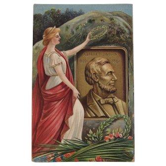 Chapman Abraham Lincoln Memoriam Plaque Postcard IAP German Germany Embossed 1909