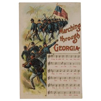 1908 Marching Through Georgia Civil War Union Soldiers Postcard American Flag Music Song and Lyrics