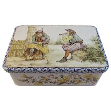 Vintage French Quimper Biscuit Tin with Pipers Signed Lalys by Massilly of France Bagpiper