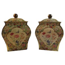 Matching Dutch Butterfly Chintz Floral Tin Tea Canisters Holland Flowers Vintage