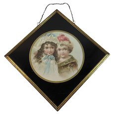 Edwardian Children Print in Reverse Painted Glass and Metal Frame