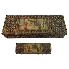 Florentine Desk Set Matching Boxes Stamp Box Italy Italian Romantic Scene