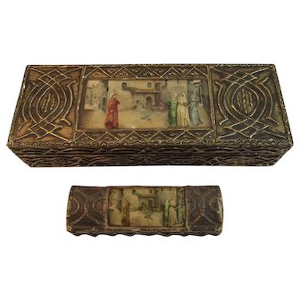 Florentine Desk Set Matching Boxes Stamp Box Italy Italian Romantic Scene