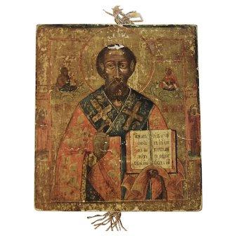 Vintage Religious Icon on Wood