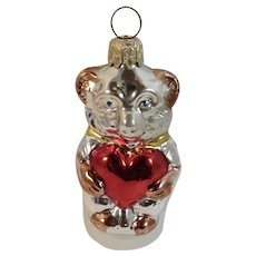 West German Glass Bear Christmas Ornament with Red Valentine Heart Vintage Germany