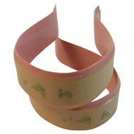 Vintage Celluloid Baby Blanket Clips Clamps Pink and Cream