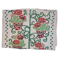 Vintage Linen Tea Towel Hanging Flower Pot Pattern