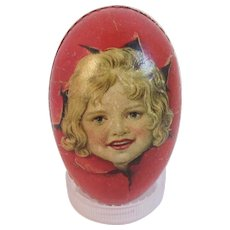 German Papier Mache Easter Egg Candy Container with Little Girl