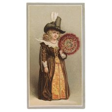 Victorian Trade Card Girl with Peacock Feather Fan in Elizabethan Dress