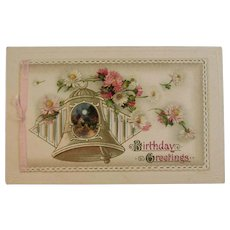 German Die Cut Booklet Style Birthday Postcard Oink and White Flowers Germany