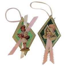 2 Handcrafted Christmas Diamond Ornaments Foil and Die Cut Scrap of Little Girls