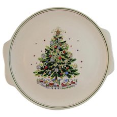 Salem China Christmas Eve Tree Platter Tray Vintage Holiday Tableware