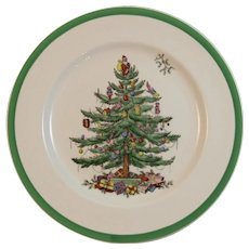 Copeland Spode Christmas Tree Dinner Plate Older Brown Mark Vintage Holiday Tableware