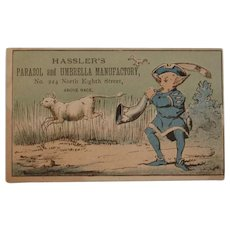 Victorian Trade Card Hassler's Parasol and Umbrella Manufactory Man with Horn and Goat