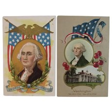 2 c 1910 George Washington Patriotic Postcards Flag Eagle and Cherries Presidents Day