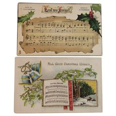 2 Christmas Carol Music and Lyrics Postcards Tuck and Marks Embossed Lest we Forget and Good King Wenceslas
