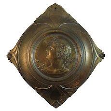 Art Nouveau Pressed Tin Flue Cover Roman or Greek Revival