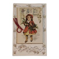German Christmas Booklet Style Postcard Little Girl in Red with Holly Basket Embossed Germany Unused BB London